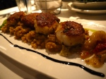 Parmesan Crusted Scallops with Lobster Risotto, Basil, Balsamic Reduction.  $32.00