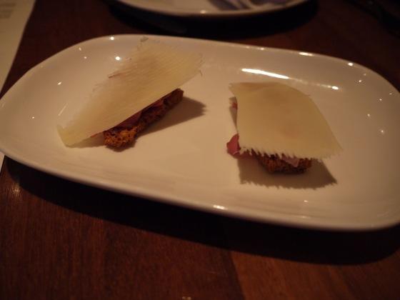 Lamb Ham and Gruyere Crostini
